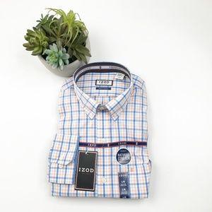 IZOD Peach Blue Plaid Button Down Dress Shirt NWT
